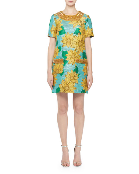 Andrew Gn Jeweled-Neck Short-Sleeve Sunflower Jacquard Dress