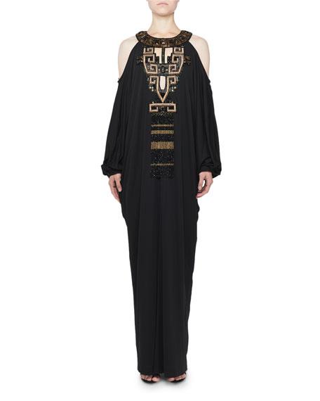 Andrew Gn Cold-Shoulder Embellished Caftan Gown
