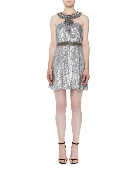 Andrew Gn Sequin Halter Cocktail Dress