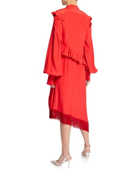 Scarf-Tie Asymmetric Ruffled Dress