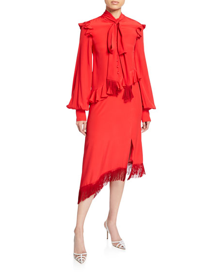 Image 1 of 1: Scarf-Tie Asymmetric Ruffled Dress