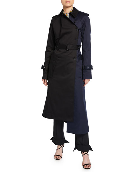 Colorblock Asymmetric Trench Coat