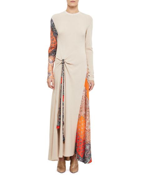 Long-Sleeve Gathered Silk Dress