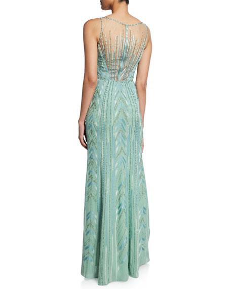 Bacall Beaded Geometric Sleeveless Column Gown