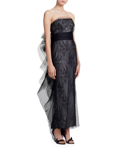 0a872985def Strapless Chantilly Lace Column Gown Quick Look. Marchesa