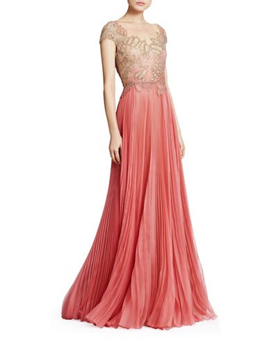 Embroidered Organza & Tulle Illusion Gown