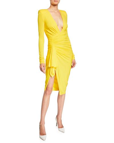 Ruched-Side V-Neck Dress