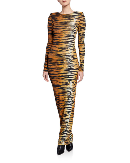 Alexandre Vauthier Tiger-Print Bodycon Gown