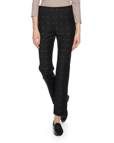 Straight-Leg Patterned Stretch-Wool Novelty Pants