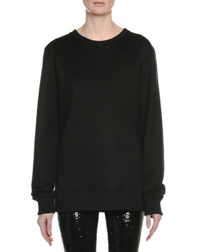 Liquid-Sequin Crewneck Long-Sleeve Sweatshirt