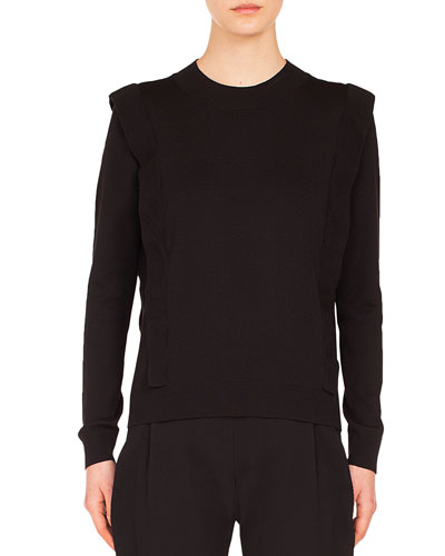 Round-Neck Ruffle Detail Pullover Wool Knit Sweater