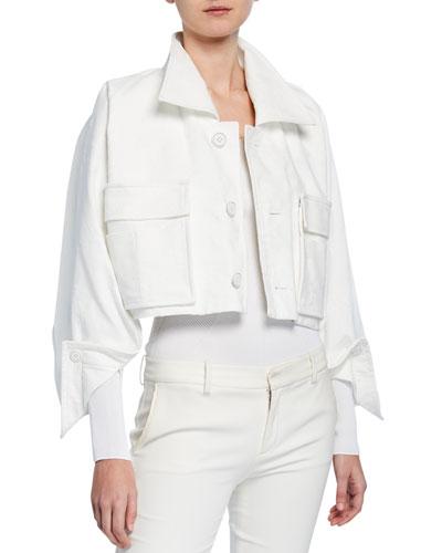 Cropped Brushed Denim Jacket