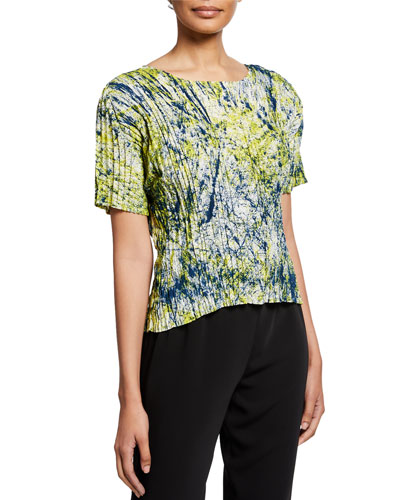 Splash Pleated Short-Sleeve Top