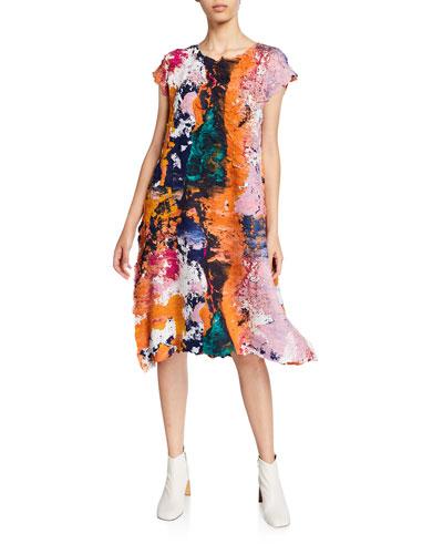 Short-Sleeve Painted Midi Dress