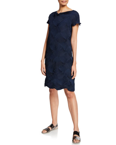Lattice Stress Short-Sleeve Dress