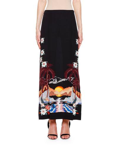 Palm Tree Print Midi Skirt