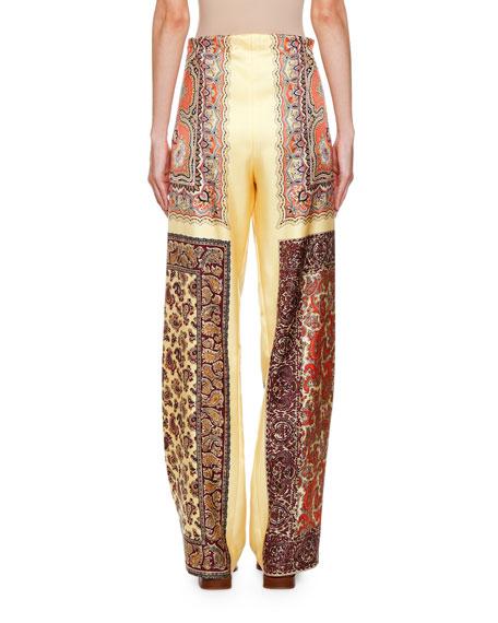 Paisley Drawstring Wide-Leg Pants