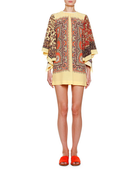 Paisley Scarf-Sleeve Mini Dress