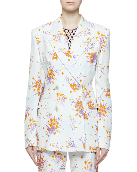 Dries Van Noten Barbina Floral-Print Double-Breasted Fitted