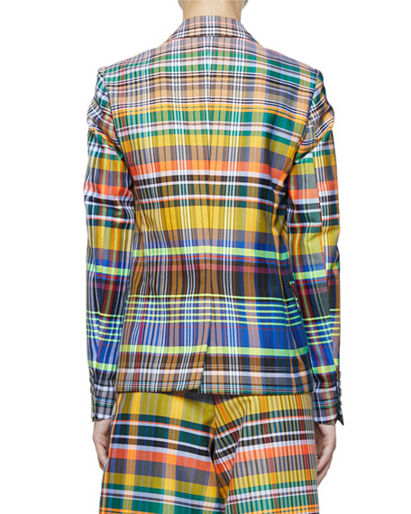 Belma Madras-Plaid Two-Button Blazer