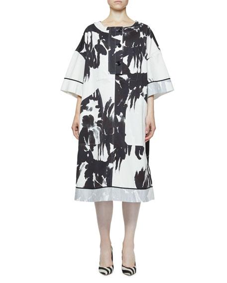 Dries Van Noten Danova Abstract Floral-Print Oversized Dress