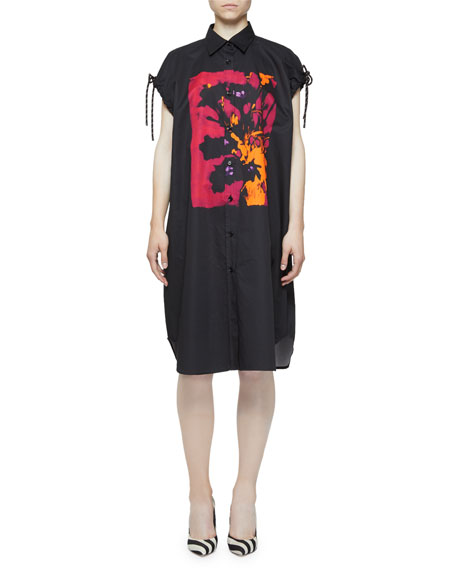 Dries Van Noten Painted-Print Cap-Sleeve Rope-Toggle Shirtdress