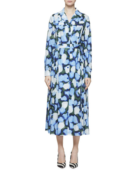 Dries Van Noten Abstract Peony-Print Long-Sleeve Midi Shirtdress