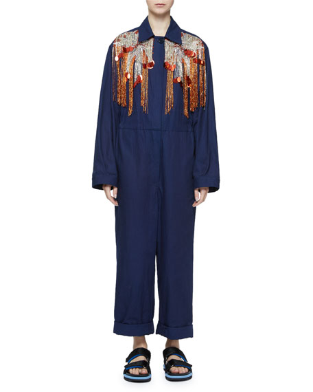 Dries Van Noten Sequin Fringe Yoke Long-Sleeve Utility