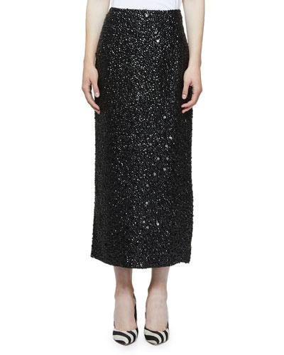 Embellished Midi Skirt with Slit Back