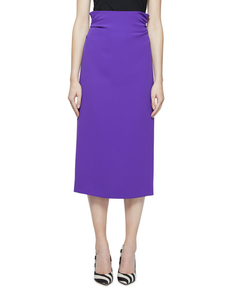 Dries Van Noten High-Waist Ruched-Back Midi Skirt