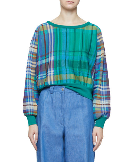 Dries Van Noten Madras Plaid Boat-Neck Long-Sleeve Cropped