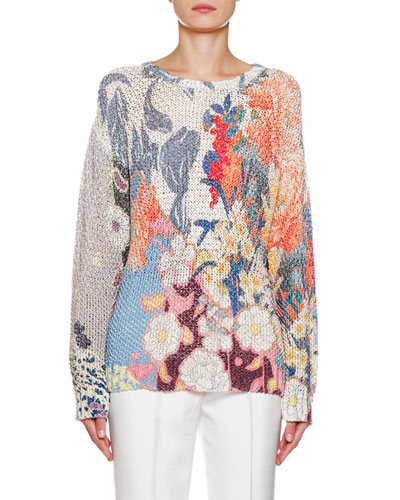 Boucle Floral Knit Sweater