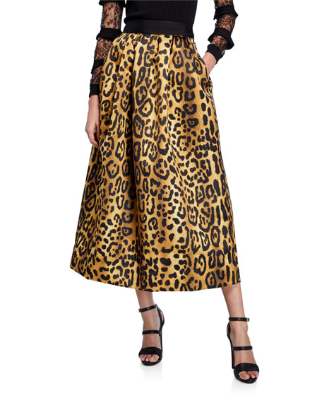 Adam Lippes Skirts LEOPARD-PRINT DUCHESS SATIN MIDI BALL SKIRT