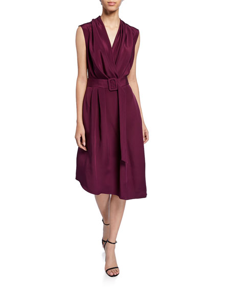 Silk Crepe V-Neck Dress