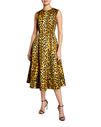 Leopard-Print Duchess Satin Fit-&-Flare Dress
