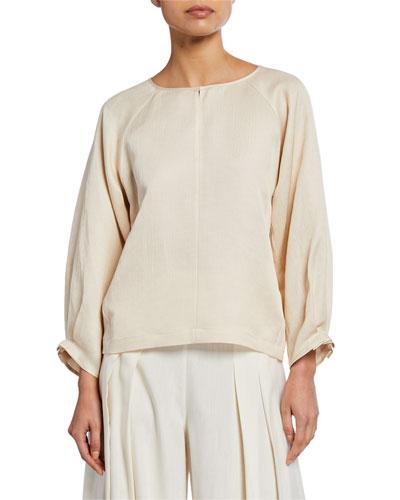 Lucia Draped Linen Long-Sleeve Shirt