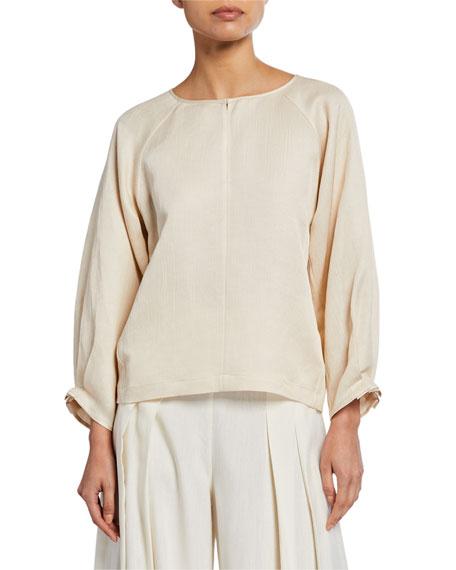 Zero + Maria Cornejo T-shirts LUCIA DRAPED LINEN LONG-SLEEVE SHIRT