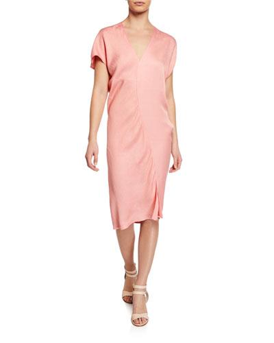 Leila Draped Viscose/Linen Cocktail Dress