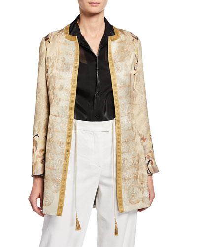 Jacquard Tie-Front Jacket