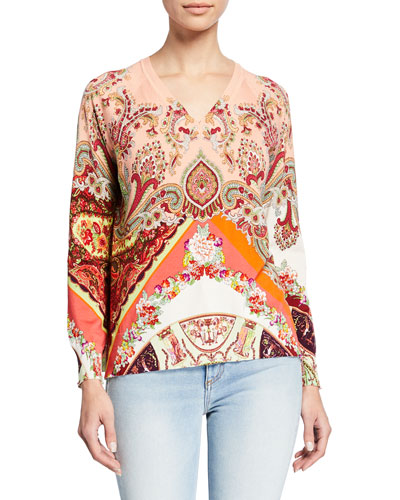 Long-Sleeve Stretch Paisley Sweater