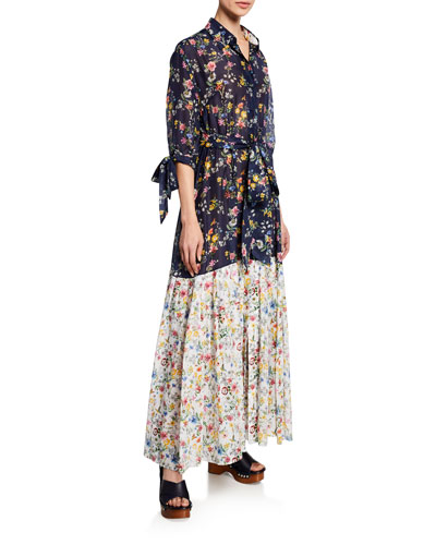 Carmen Cotton Bicolor Floral Dress