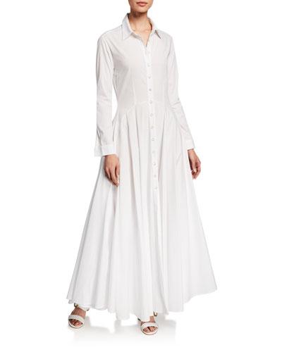 Juliette Italian Cotton Flared Shirt Dress