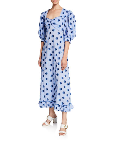 Vanessa Long Polka Dot Cotton Dress