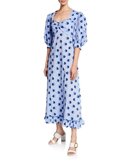 Evi Grintela Vanessa Long Polka Dot Cotton Dress