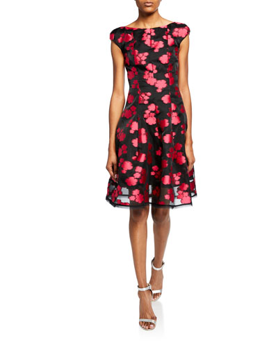c6999e16167 Longley Floral Fil Coupe Cap-Sleeve Dress Quick Look. Talbot Runhof