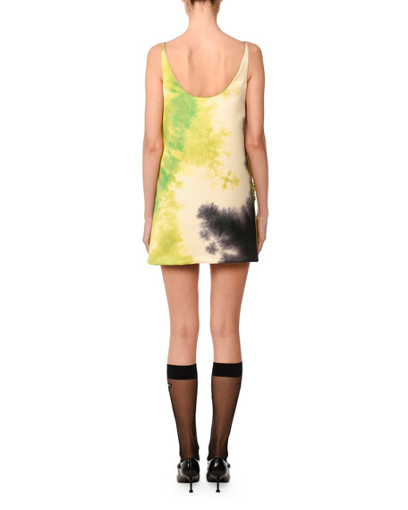 Sleeveless Tie-Dye Beaded Mini Dress