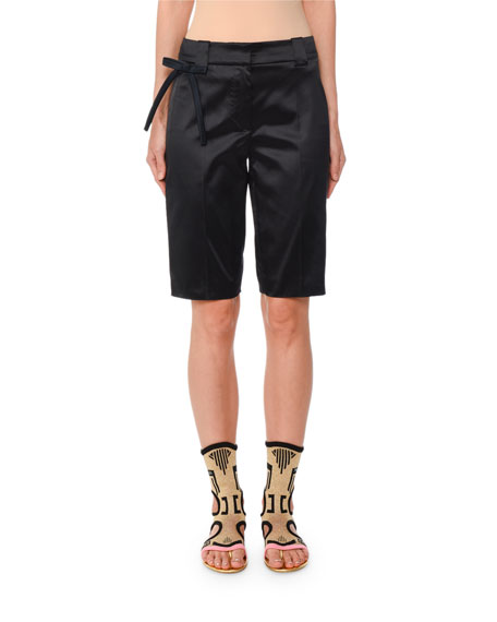 Stretch-Silk Bermuda Shorts w/ Bow