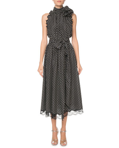 Polka Dot Ruffled Sleeveless Midi Dress