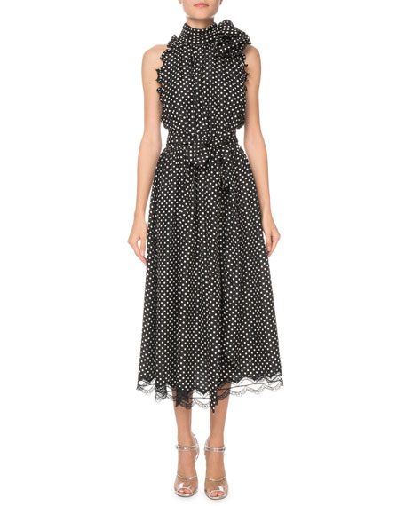 Marc Jacobs Polka Dot Ruffled Sleeveless Midi Dress