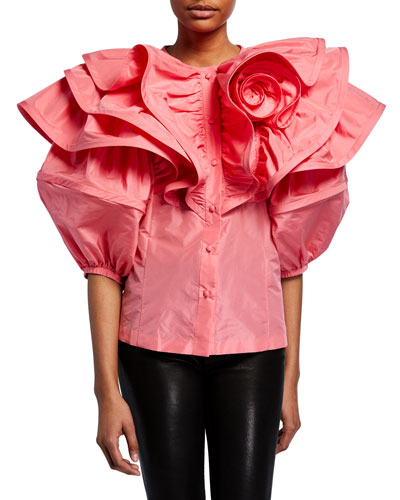 Ruffled Rosette Shoulder Poplin Button-Front Top